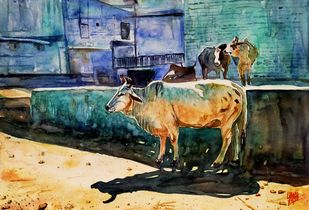 Street by Sabari Girish T, Illustration Painting, Watercolor on Paper, Gray color