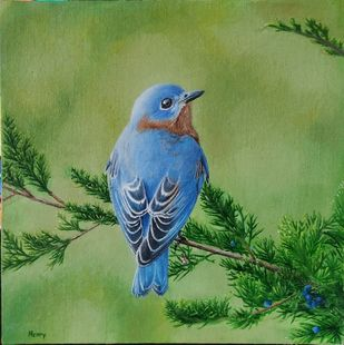 Bluebird by Henry Charles, Illustration Painting, Oil on Canvas, Olive color