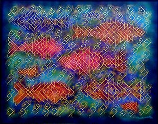 UNDER WATER by Karoonamoorthy.N, Abstract, Conceptual Painting, Oil on Canvas, Gray color