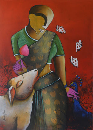 aura of love by anupam pal, Expressionism Painting, Acrylic on Canvas, Orange color