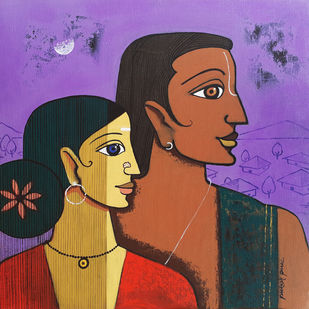 love by Prakash Pore, Expressionism, Traditional Painting, Acrylic on Canvas, Orange color