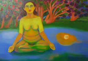 Meditation 2 by Aradhna Tandon, Expressionism Painting, Acrylic on Canvas, Gray color