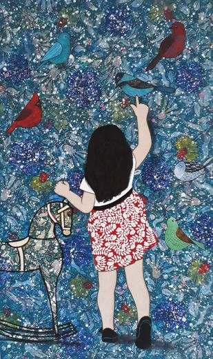 childhood by Monica Ghule, Expressionism Painting, Acrylic on Canvas, Gray color