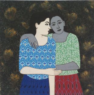 twins by Monica Ghule, Expressionism Painting, Acrylic on Canvas, Gray color