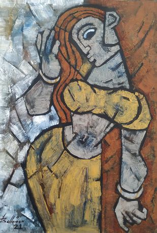 The Pose by Balbir Singh, Expressionism Painting, Acrylic on Canvas, Gray color