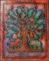 KALPAVIRIKSHA TREE by Karoonamoorthy.N, Expressionism, Traditional Painting, Acrylic on Canvas, Gray color