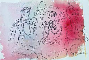 Untitled by Sakti Burman, Illustration Painting, Mixed Media on Paper, Fuchsia color