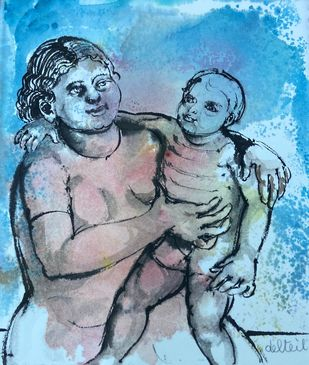 Mother and Child by Maite Delteil, Expressionism Painting, Watercolor on Paper, Aqua color