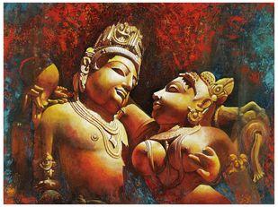 sambhoga rasa by C Mullai Rajan, Expressionism, Traditional Painting, Acrylic on Canvas, Olive color