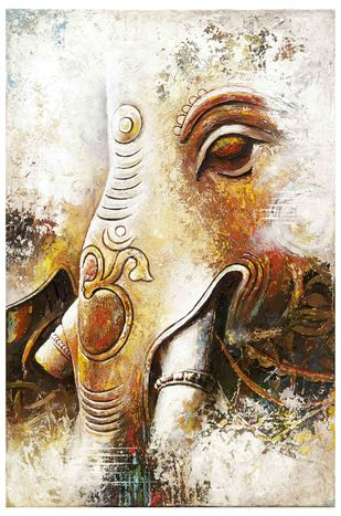 Ganesha by C Mullai Rajan, Expressionism, Traditional Painting, Acrylic on Canvas, Lime color