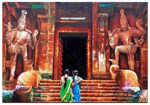 Brihadishwar a temple by C Mullai Rajan, Illustration, Traditional Painting, Acrylic on Canvas, Orange color