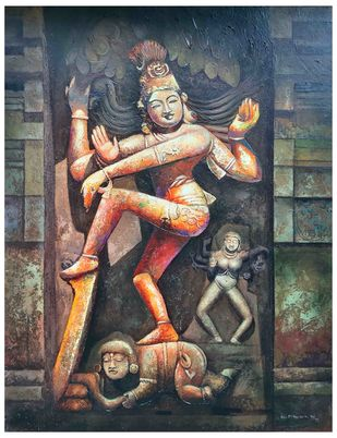 NATYA SHASTRA by C Mullai Rajan, Traditional Painting, Acrylic on Canvas, Gray color