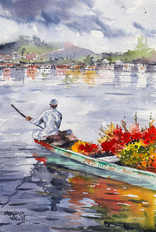 Landscape Painting By Mopasang Valath 12 by Mopasang Valath, Illustration Painting, Watercolor on Paper, Silver color