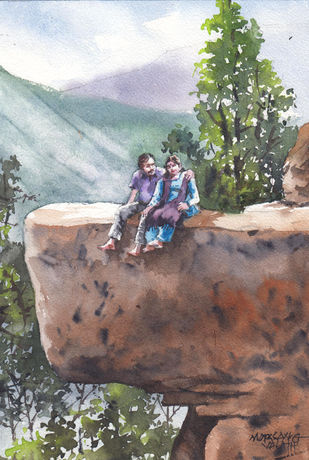 Landscape Painting By Mopasang Valath 13 by Mopasang Valath, Illustration Painting, Watercolor on Paper, Gray color