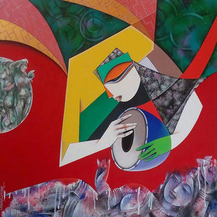 Musician by Pradip Sarkar, Expressionism, Geometrical Painting, Acrylic on Canvas, Maroon color