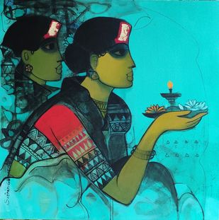 Untitled by Sachin Sagare, Expressionism Painting, Acrylic on Canvas, Teal color