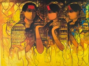 Untitled by Sachin Sagare, Expressionism Painting, Acrylic on Canvas, Yellow color