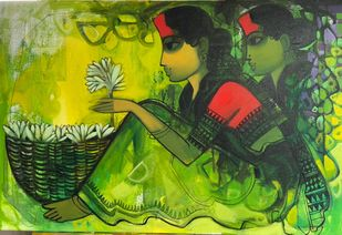 Untitled by Sachin Sagare, Expressionism Painting, Acrylic on Canvas, Olive color