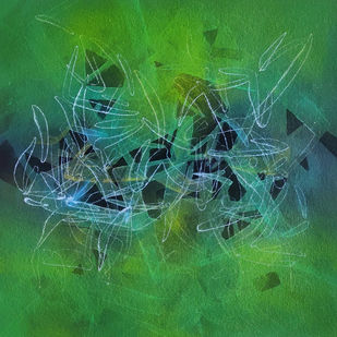 Untitled by Ashok Namdeo Hinge, Abstract Painting, Acrylic on Paper, Green color