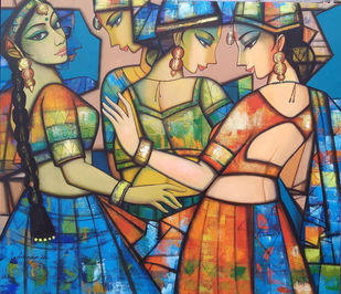 rhythimscape series by Anindya Mukherjee, Expressionism Painting, Acrylic on Canvas, Gray color