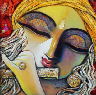 MURLIDHAR by Subrata Ghosh, Expressionism Painting, Acrylic on Canvas, Olive color