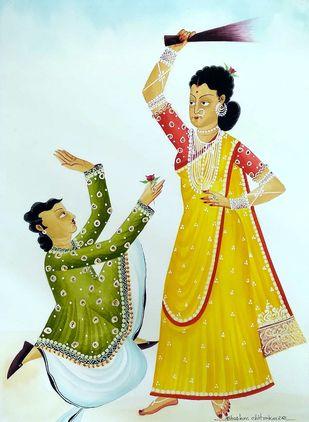 Hen-pecked Babu by Bhaskar Chitrakar, Traditional, Tribal Painting, Natural colours on paper, Aqua color