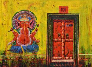 Ganesha-2 by Anil Kumar Yadav, Expressionism, Illustration Painting, Acrylic on Canvas, Olive color