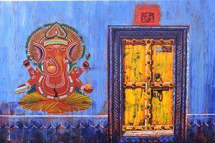 GANESHA-3 by Anil Kumar Yadav, Expressionism, Illustration Painting, Acrylic on Canvas, Blue color