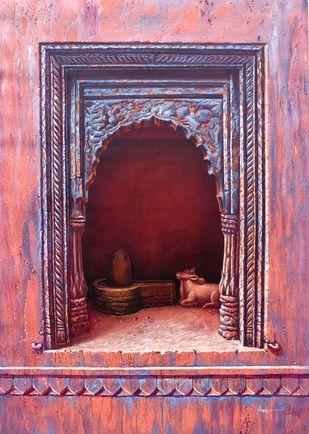 Varanasi - 30 by Anil Kumar Yadav, Illustration Painting, Acrylic on Canvas, Purple color