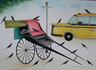 Covid Days in Kolkata by Bhaskar Chitrakar, Folk, Traditional Painting, Natural colours on paper, Silver color
