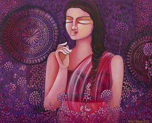 PRIYADARSHINI by NITU CHHAJER, Expressionism Painting, Acrylic on Canvas, Gray color