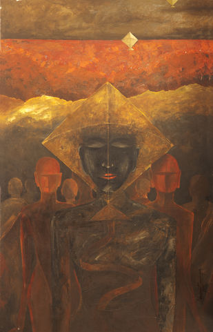 Trance Flight by Manoj Mauryaa, Expressionism Painting, Acrylic on Canvas, Olive color
