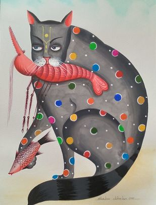 Damien Hirst inspired Kalighat Cat by Bhaskar Chitrakar, Traditional Painting, Natural colours on paper, Silver color
