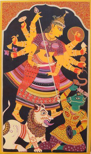Durga by Bhaskar Lahiri, Expressionism, Folk, Traditional Painting, Acrylic on Canvas, Orange color