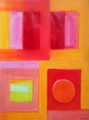 untitled by Bhaskar Hande, Abstract, Geometrical Painting, Acrylic on Paper, Orange color