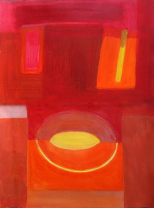 untitled by Bhaskar Hande, Abstract Painting, Acrylic on Paper, Maroon color