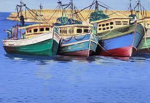 vizag harbour by d shiva prasad reddy, Illustration Painting, Gouache on Paper, Blue color