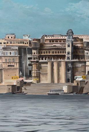 varanasi in miniature size by d shiva prasad reddy, Illustration Painting, Acrylic on Paper, Gray color