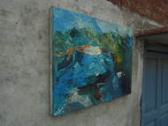 Landscape of Himavan by Anshu, Abstract Painting, Oil on Canvas, Green color