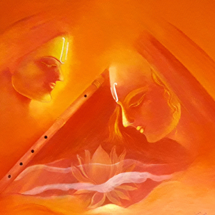 Kanha by Sunita komal, Expressionism Painting, Acrylic on Canvas, Orange color