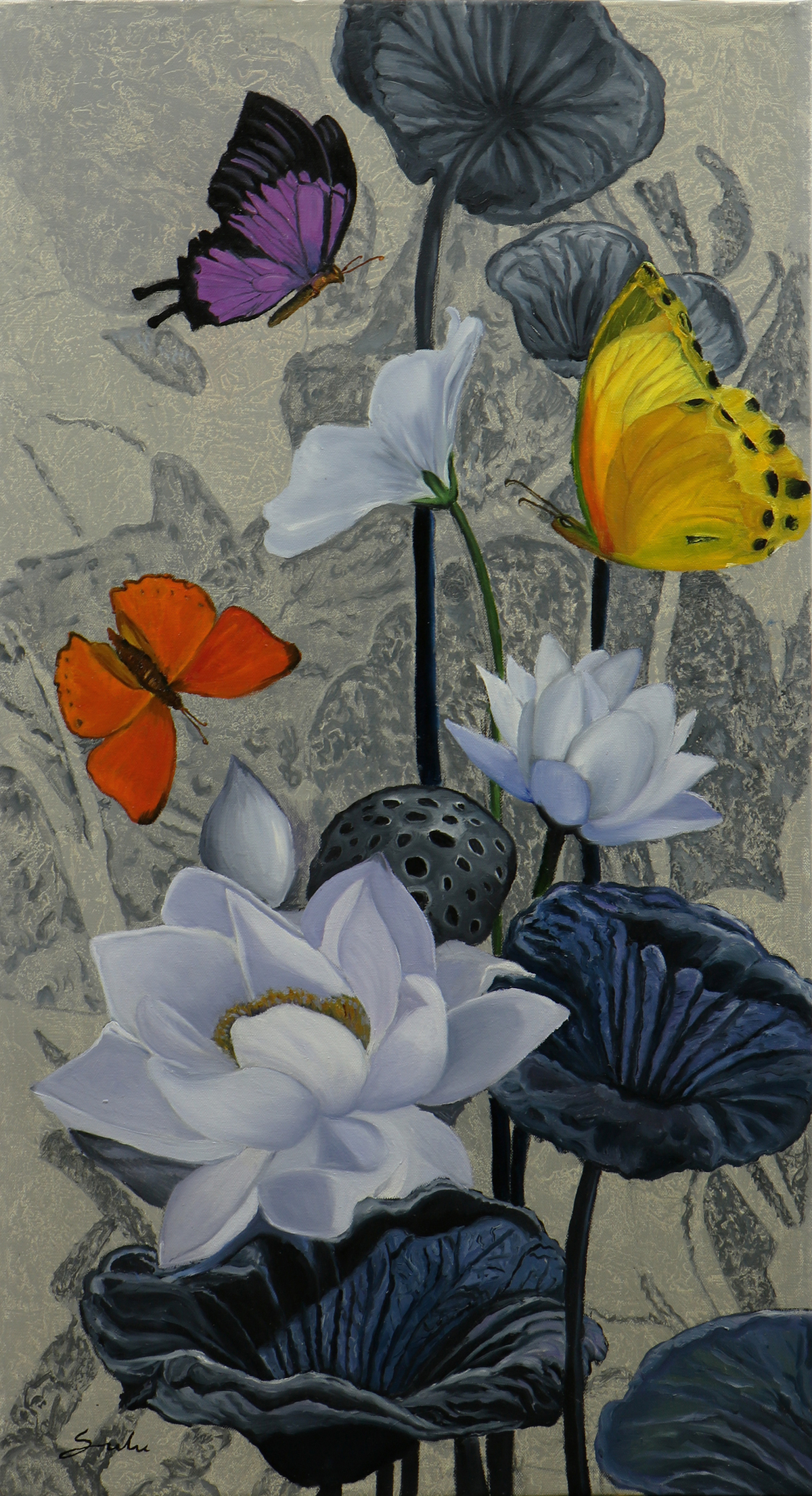 Flower with butterfly 8 26x48