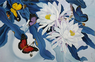 Flower with butterfly11 by Sulakshana Dharmadhikari, Expressionism Painting, Oil on Canvas, Blue color