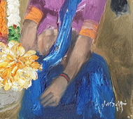 "Badami People, Oil on Canvas by Indian Contemporary Artist ""In Stock"" by J M S Mani, Expressionism Painting, Oil on Canvas, Brown color"