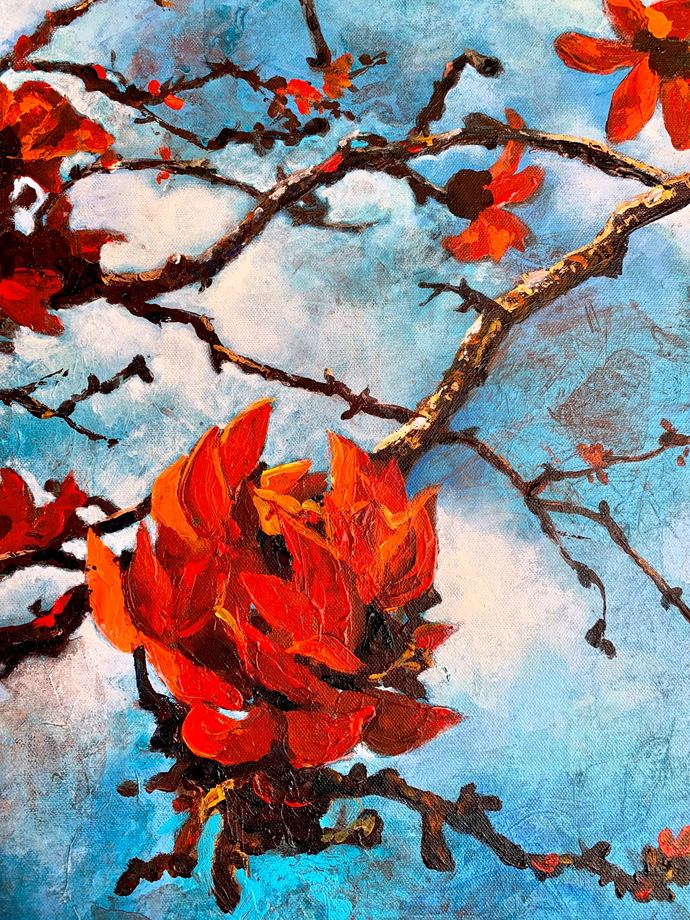 FOREST FIRES by Anukta Mukherjee Ghosh, Expressionism Painting, Acrylic on Canvas, Cyan color