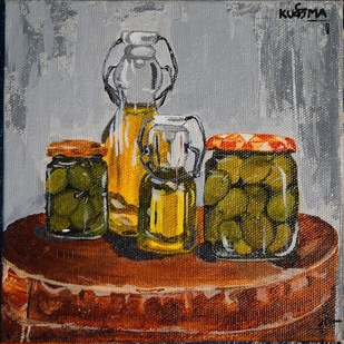 Olives by Neha gupta, Expressionism Painting, Acrylic & Ink on Canvas, Makara color