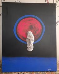 The Sun by Jignesh Jariwala, Conceptual Painting, Mixed Media on Canvas, Tundora color