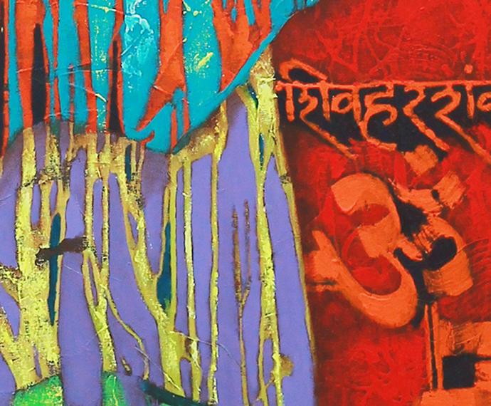 """INOCENT BATU"" by SHANKAR DEVARUKHE, Expressionism Painting, Acrylic on Canvas, Eucalyptus color"