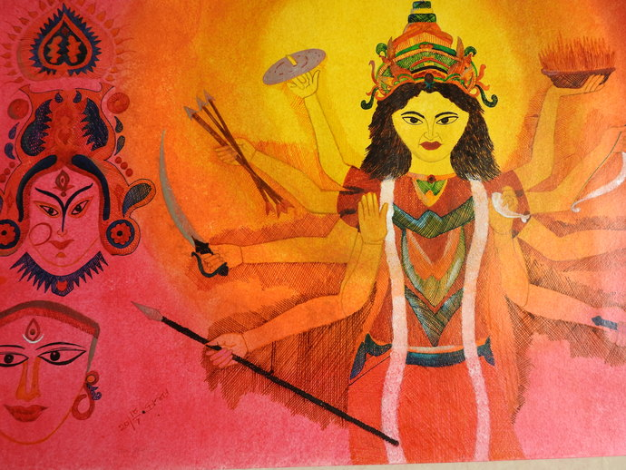 MAA by KAJAL PANCHAL, Traditional Painting, Ink & Pastels on Paper, Tuscany color
