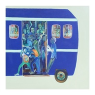 Life on wheels by Madhuri Jain, Expressionism Painting, Acrylic on Canvas, Indian Khaki color