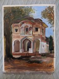 Haveli by Samiksha Gupta , Impressionism Painting, Oil on Linen, Shadow color